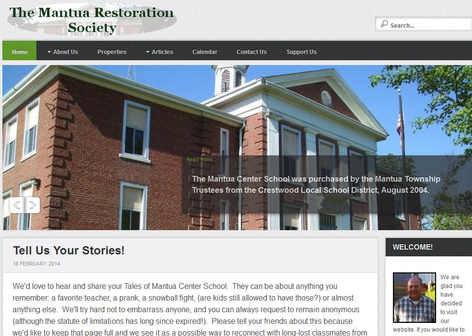 mantua restoration society web site screen shot