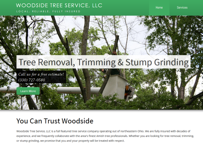 woodside web site screen shot